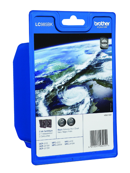 Brother LC985BKBP2 Black Inkjet Cartridge Twin Pack LC-985BKBP2