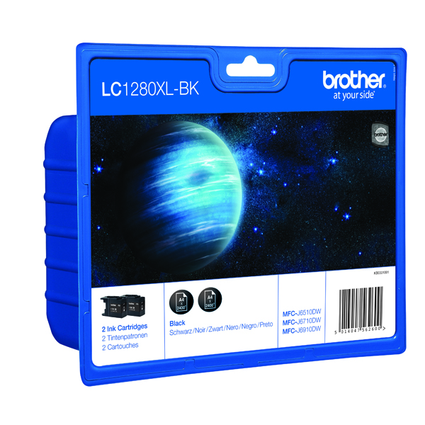 Brother LC-1280XL Black High Yield Inkjet Cartridge (2 Pack) LC1280XLBKBP2