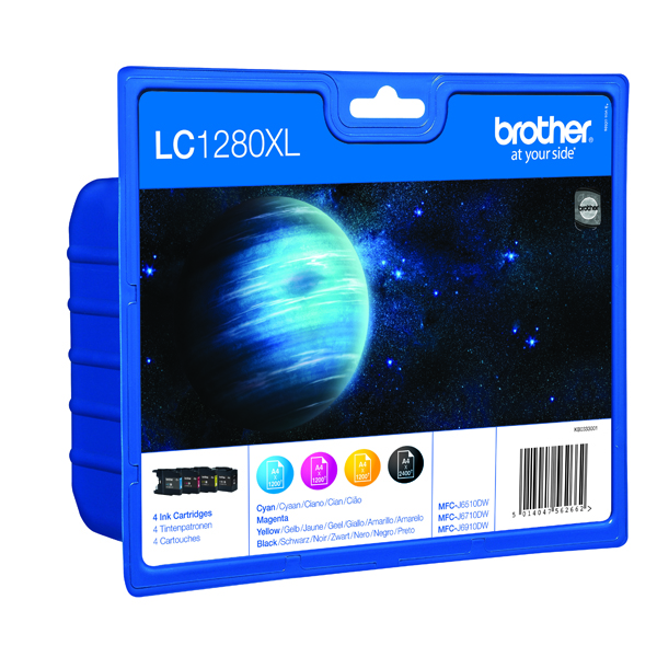 Brother LC-1280XL C/M/Y/B High Yield Ink Cartridges (4 Pack) LC1280XLVALBP