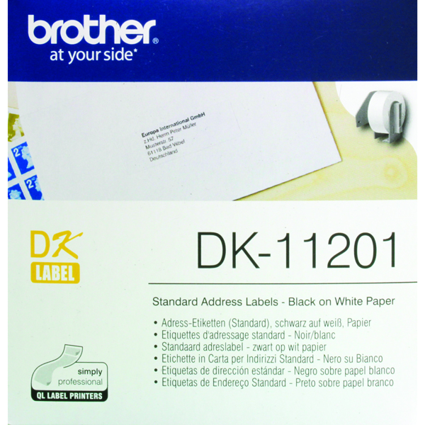 Brother Black on White Paper Standard Address Labels (400 Pack) DK11201