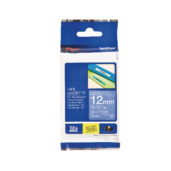 Brother P-Touch Tape 12mm White on Blue TZE535
