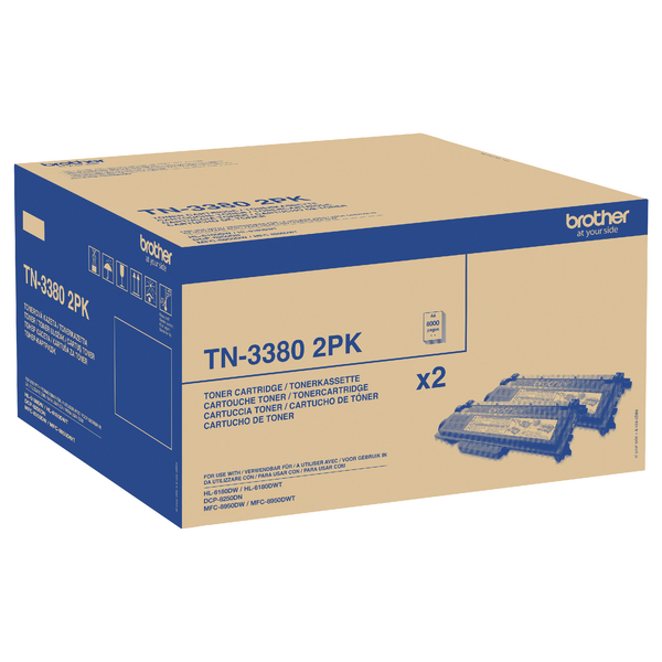 Brother High Yield Laser Black Toner Cartridge Twin Pack TN3380TWIN