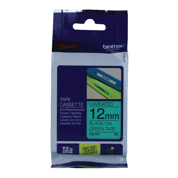 Brother P-Touch 12mm Black on Green TZE731 Labelling Tape