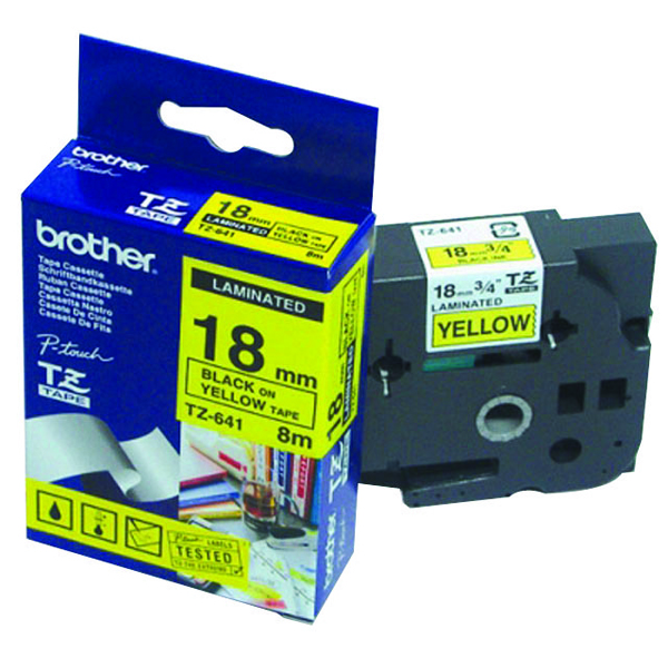 Brother P-Touch TZe 18mm Black on Yellow Labelling Tape TZE641