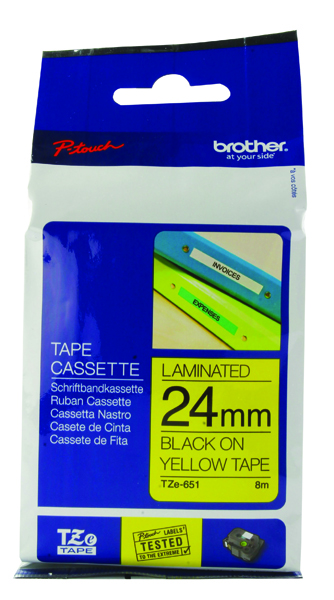 Brother P-Touch 24mm Black on Yellow TZE651 Labelling Tape