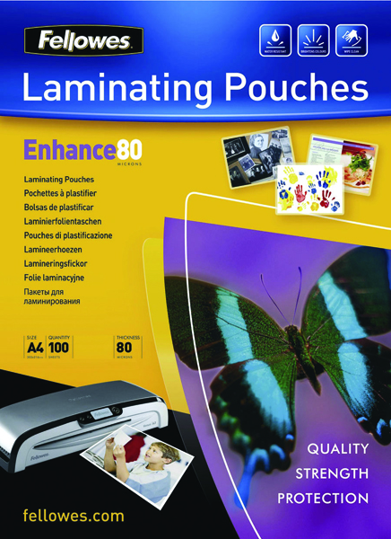 Fellowes Laminating Pouch A4 Matt 160micron Enhance Pack of 100 5452101