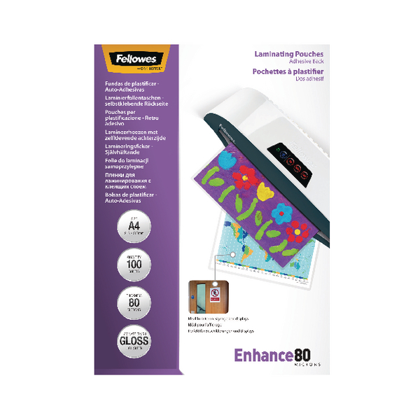 Fellowes A4 Self Adhesive Enhance Laminating Pouches 80 Micron (Pack of 100) 53022