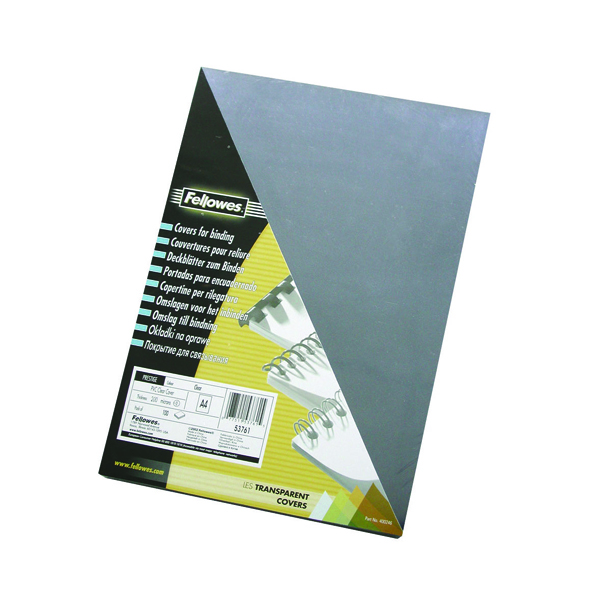 Fellowes Transpsarent Plastic Covers 240 Micron (100 Pack) 53762