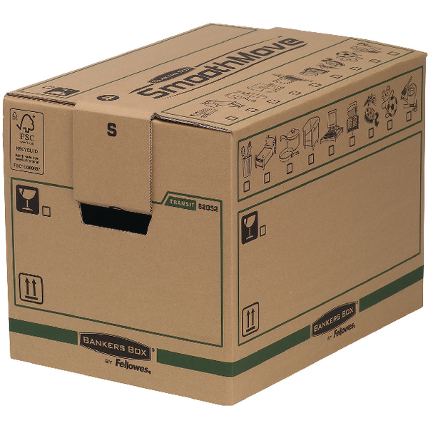 Fellowes Bankers Box Moving Box Small Brown/Green (Pack of 5) 6205201