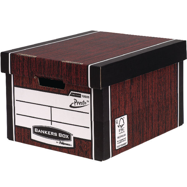 Bankers Box Woodgrain Tall Premium Storage Box (Pack of 10) 7260501