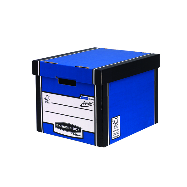 Fellowes Bankers Box Premium Presto Storage Box Blue/White (Pack of 10) 7260601