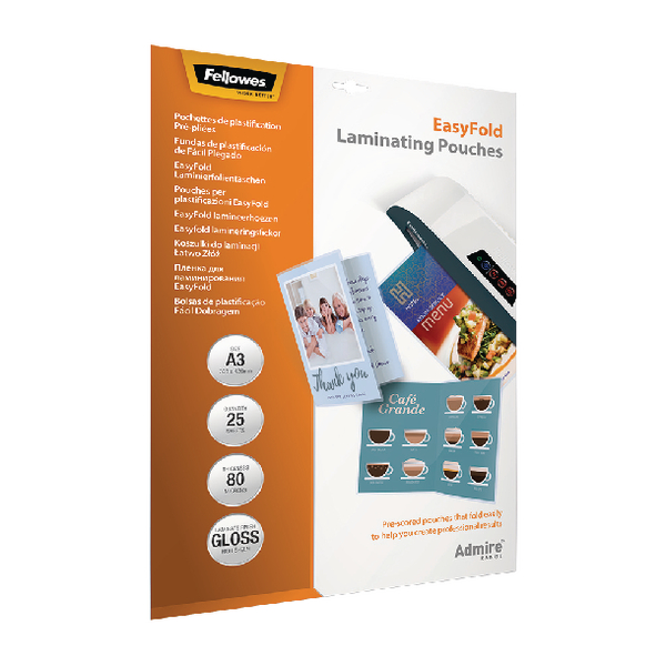 Fellowes EasyFold Laminate Pouch A3 Pk25