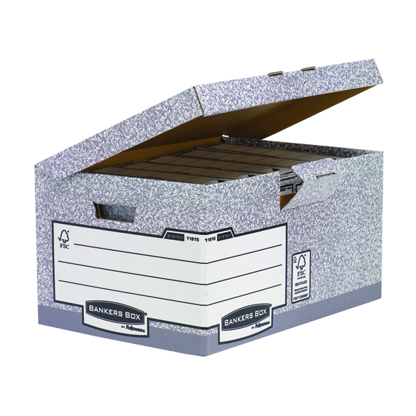 Fellowes Bankers Box System Flip Top Storage Box Grey 01815