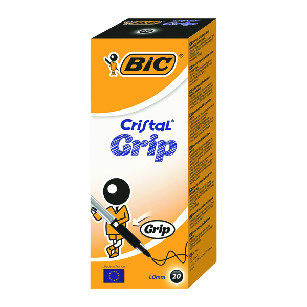 Bic Black Cristal Grip Medium Ballpoint Pen (Pack of 20) 802800