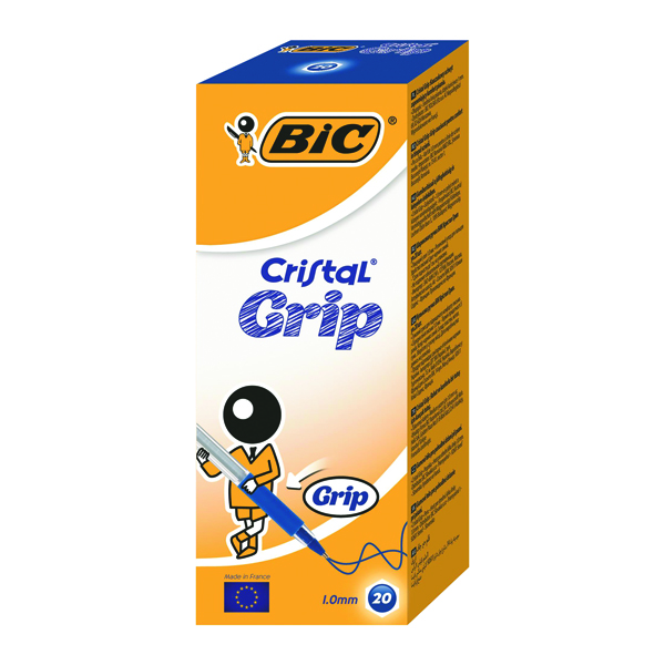 Bic Blue Cristal Grip Medium Ballpoint Pen (Pack of 20) 802801