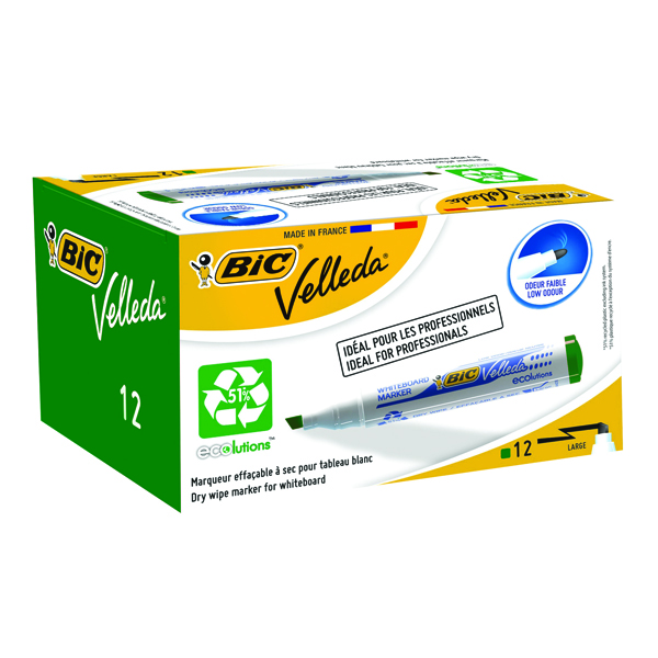 Bic Velleda 1701 Green Bullet Tip Whiteboard Marker (Pack of 12) 1199170102