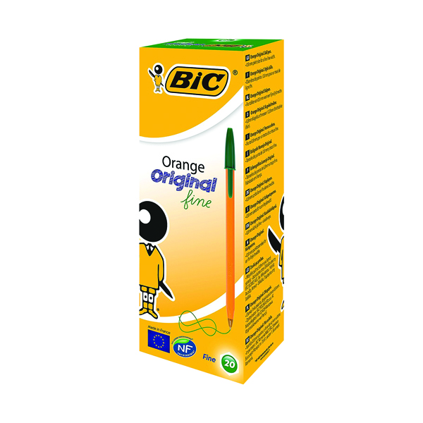 Image for Bic Orange Fine Ballpoint Green Ink Pen (Pack of 20) 1199110113