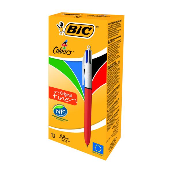 Bic 4 Colours Ballpoint Pen Fine 0.8mm 801868