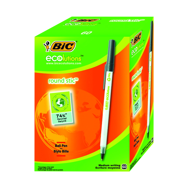 Bic Ecolutions Medium Ballpoint Black Pen (Pack of 60) 893239