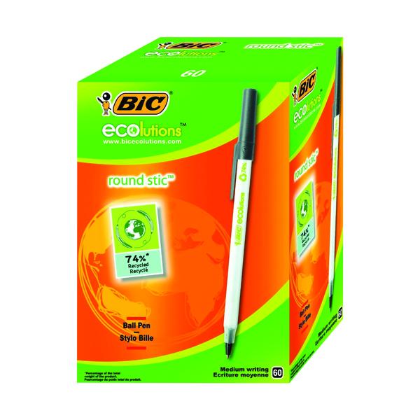 Bic Ecolutions Medium Ballpoint Black Pen (Pack of 60) 893239