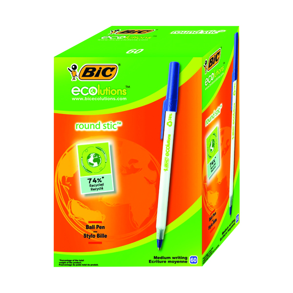 Bic Ecolutions Medium Ballpoint Blue Pen (Pack of 60) 893240