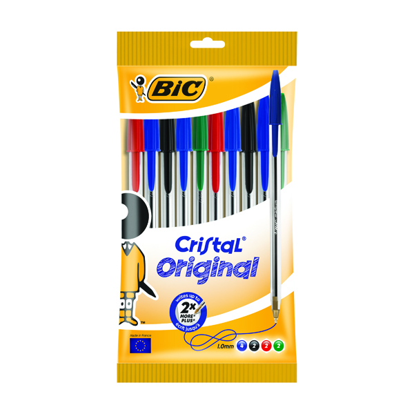 Bic Cristal Medium Ballpoint Pens Assorted (10 Pack) 830865