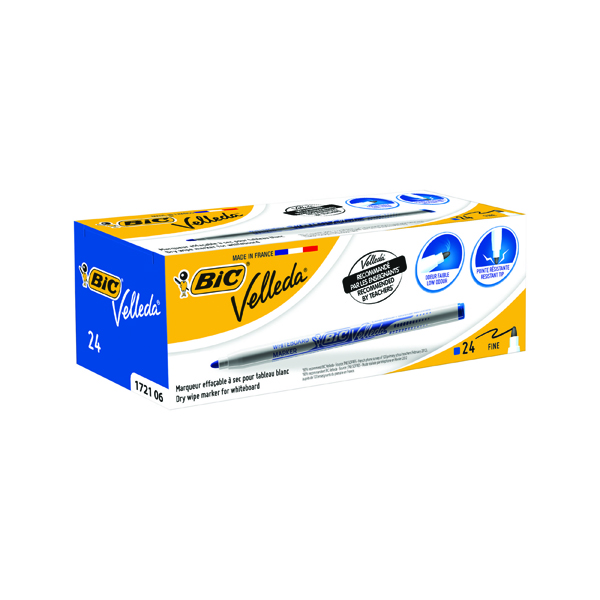 Bic Velleda Whiteboard Marker 1721 Fine Tip Blue (Pack of 24) 841841