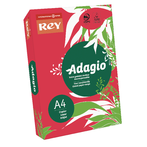 Adagio Intense Red A4 Coloured Card 160gsm (250 Pack) 201.1226