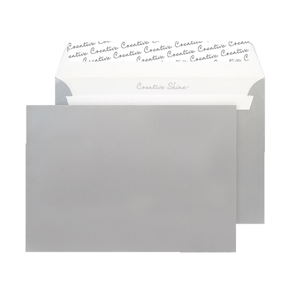 Image for C5 Wallet Envelope Peel and Seal 130gsm Metallic Silver Black (Pack of 250) 312
