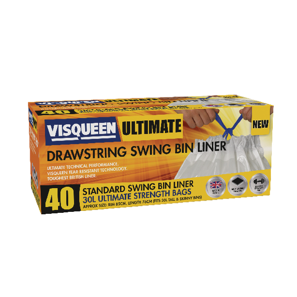Visqueen Ultimate Swing Bin Liner 30 Litre Drawstring White RS057767
