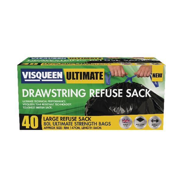 Visqueen Ultimate Drawstring Refuse Sack 80 Litre Black RS057770