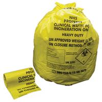 Clinical Waste sack HD Orange Pk10x25