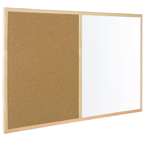 Bi-Office Wood Frame 900x600mm Cork/Drywipe Board MX07001010