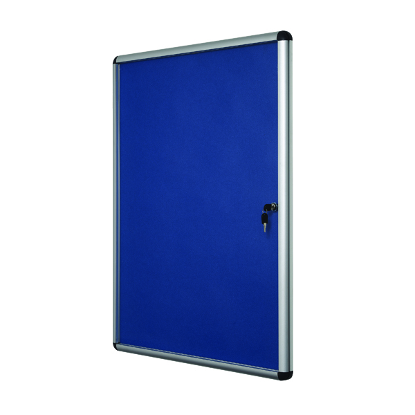 Bi-Office Lockable Internal Display Case 931x670mm 9xA4 Sheets Blue Felt Alumin Frame VT630107150