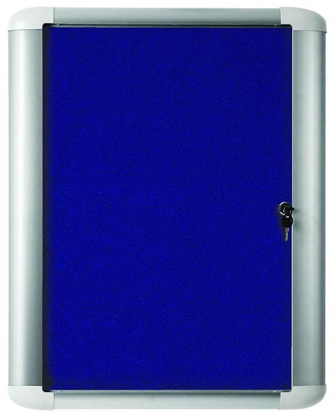 Bi-Office External Display Case 626x670mm Blue Felt Aluminium Frame VT620107760
