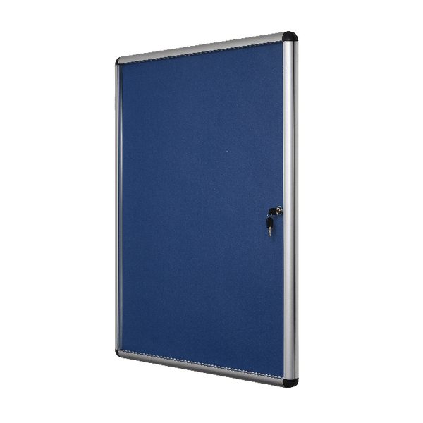 Bi-Office Lockable Internal Display Case 1110x930mm Blue Felt Aluminium Frame VT640107150