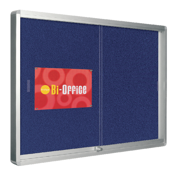 Bi-Office Lockable Glazed Display Case 890x625mm 8xA4 Sheets Blue Felt Aluminium Frame VT690107160