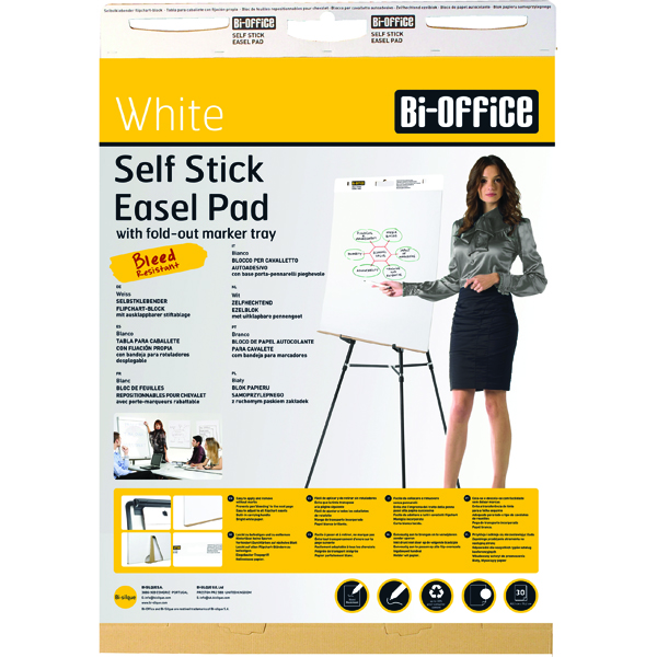 Bi-Office Self-Stick Flipchart Pad 635x780mm 30 Sheets White FL128107