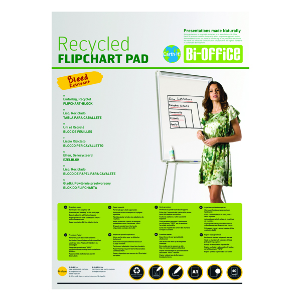 Image for Bi-Office Earth-It Flipchart Pad A1 Plain 40 Sheets 55gsm FL0111801