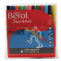 Berol Assorted Water-Based Colourbrush Pens Wallet (12 Pack) S0375950