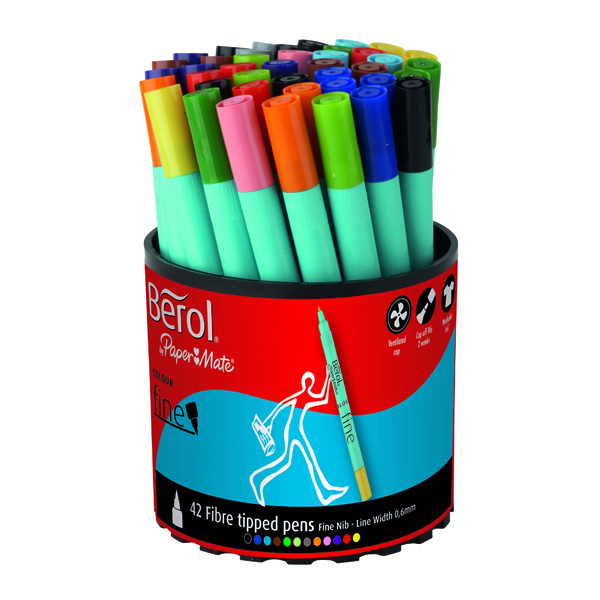 Berol Assorted Water-Based Colourfine Pen Tub (42 Pack) S0376490