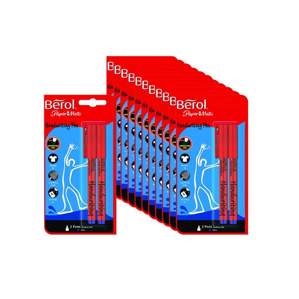 Berol Handwriting Blue Pen Blister Card (Pack of 24) S0672920