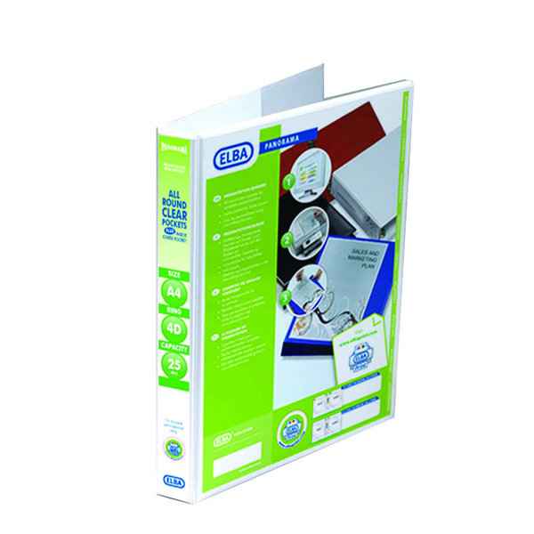 Image for Elba Panorama White A4 Plus 25mm 4 D-Ring Presentation Binder (Pack of 10) 400001391