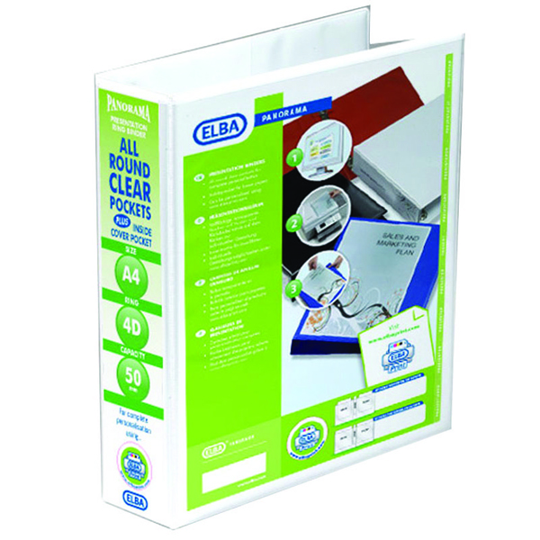 Image for Elba Panorama White A4 Plus 50mm 4 D-Ring Presentation Binder (Pack of 10) 400001309