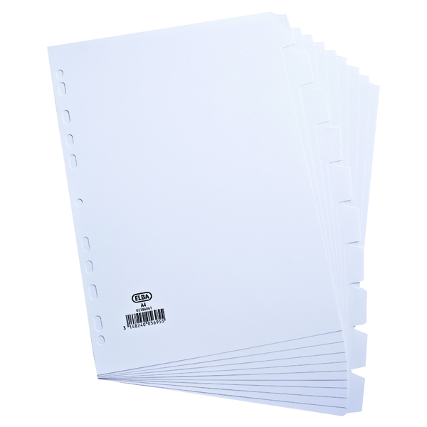 Elba A4 10-Part 160gsm White Card Divider 100204881