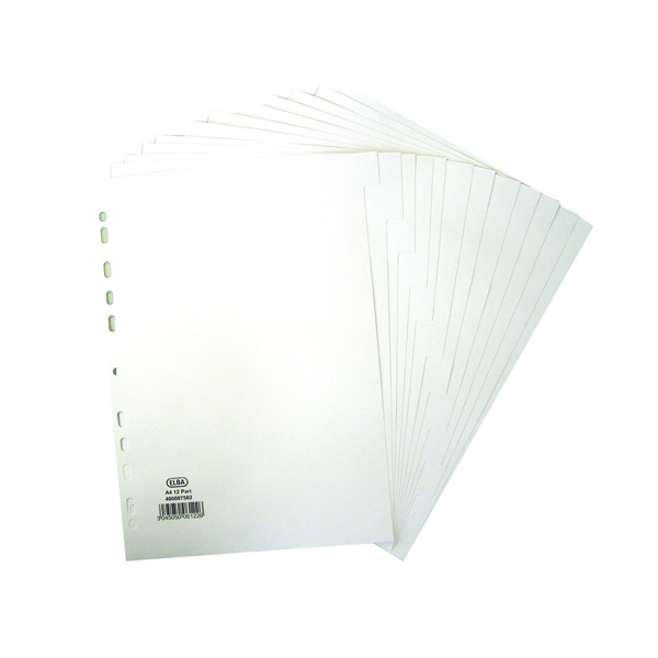 Elba A4 12 Part 160gsm White Dividers 400007502