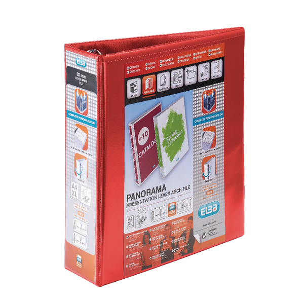 Elba Panorama Red A4 Plus Presentation Lever Arch File (5 Pack) 400008437