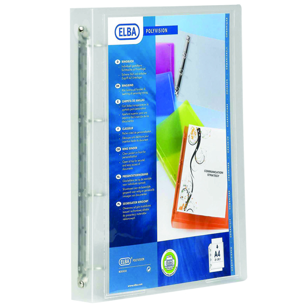 Elba Polyvision A4 Clear Presentation Ring Binder Pack of 12 100081049