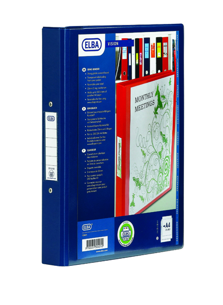 Elba Vision PVC A4 Blue 4 Ring Binder 100080876