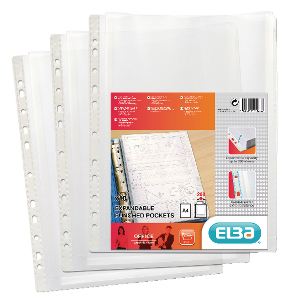 Elba A4 Clear Expanding Punched Pockets Pack of 10 100080753